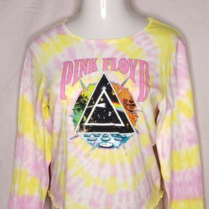 Retro Pink Floyd Size Large Tie-Dye T-Shirt Long Sleeve Yellow and Pink Juniors